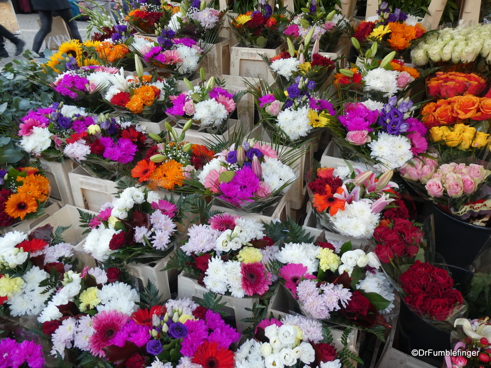 Lots of beautiful flowers available at the Hay Market, Stockholm