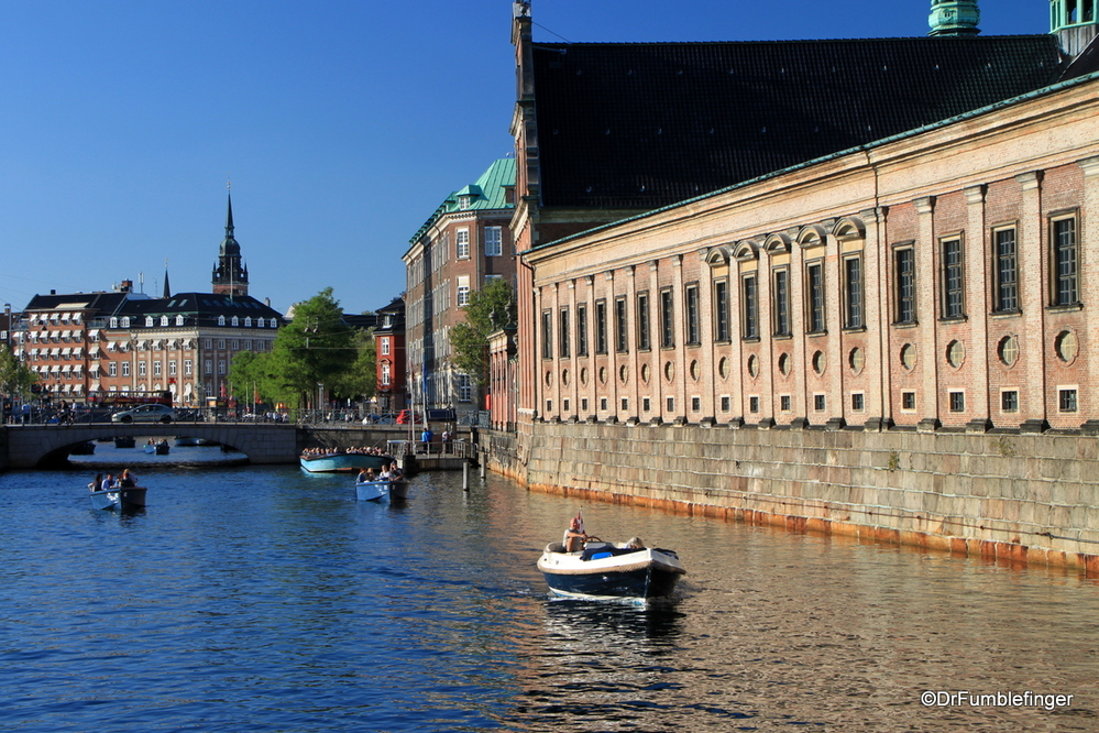 Canal boat traffic around Copenhagen's Inner Harbor