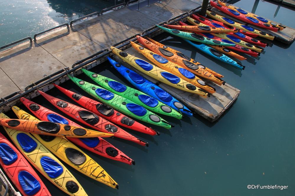 Kayaks in the Valdez harbor