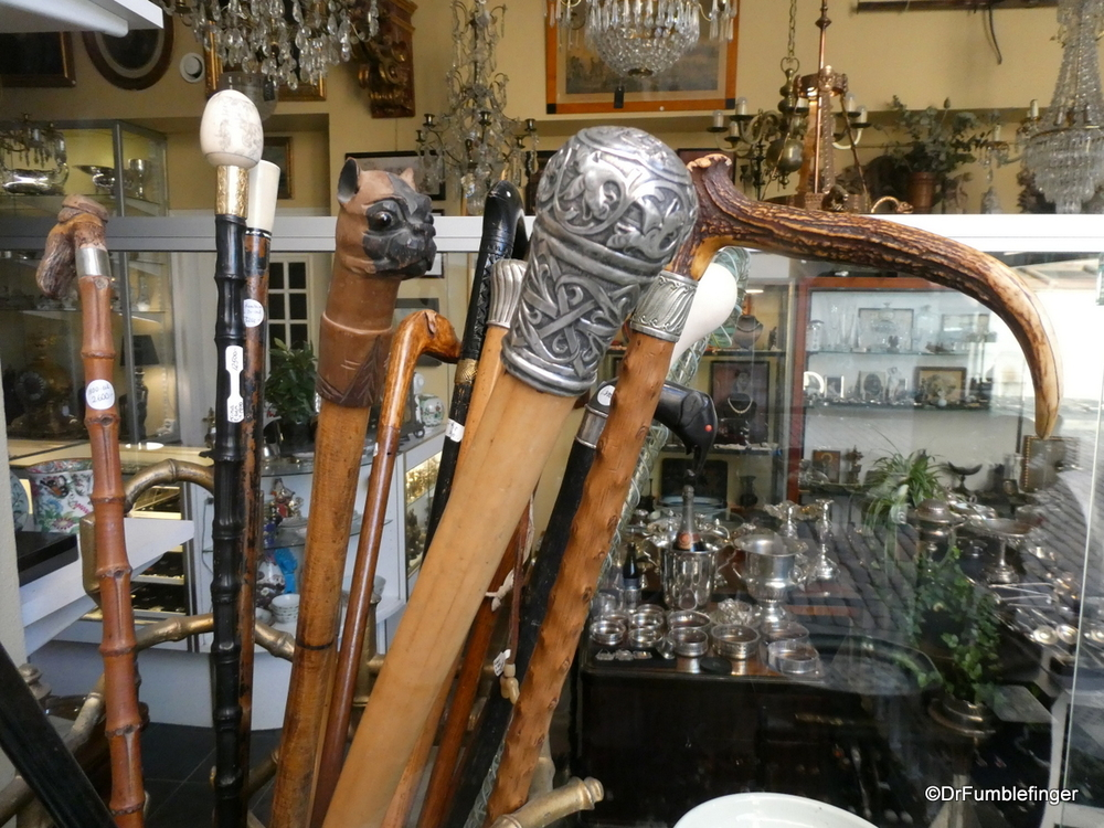 An interesting assortment of walking canes for sale in an antique shop,  Stockholm