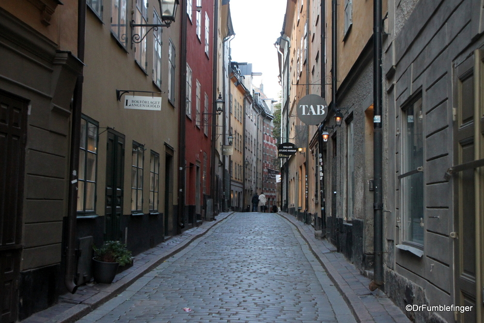 The narrow medieval lanes of Stockholm's oldest section, Gamla Stan