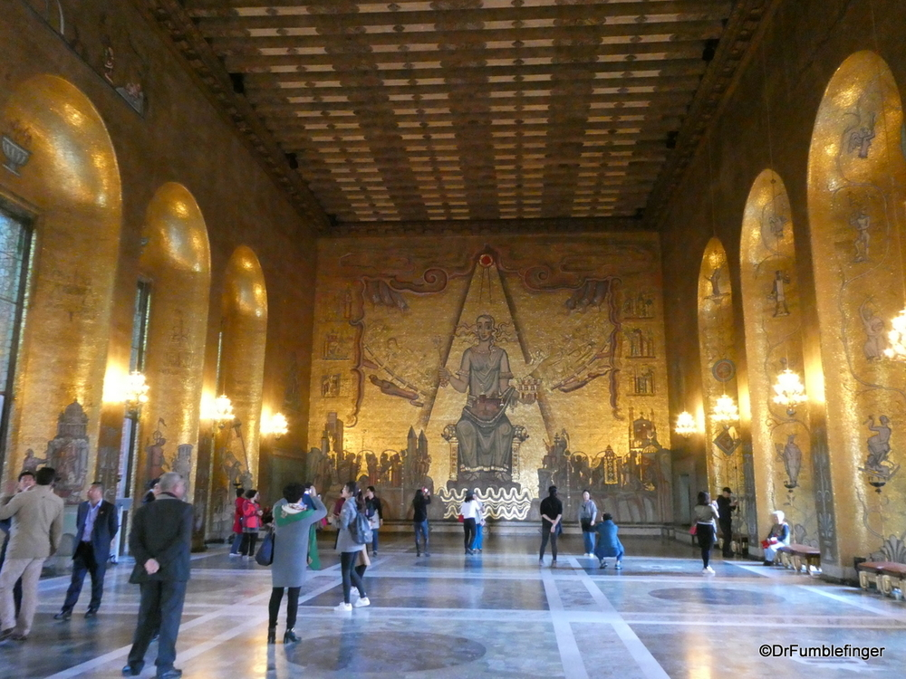 "Stockholm City Hall's unusual ""Gold Room"", with interesting mosaics."