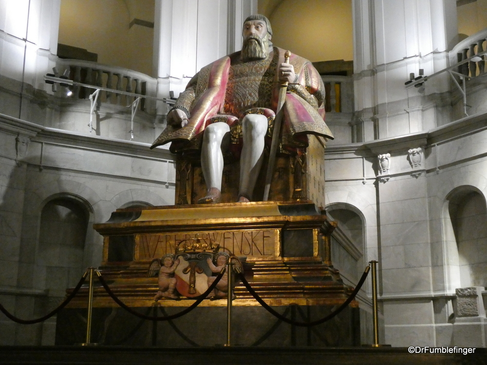 Grand statue of King Gustav Vasa, made of oak.  Nordic Museum, Stockholm