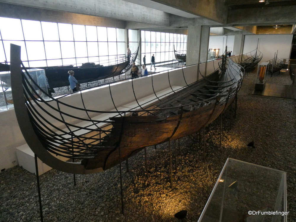 The remains of five Viking ships, a thousand years old, at the Roskilde Viking Ship Museum