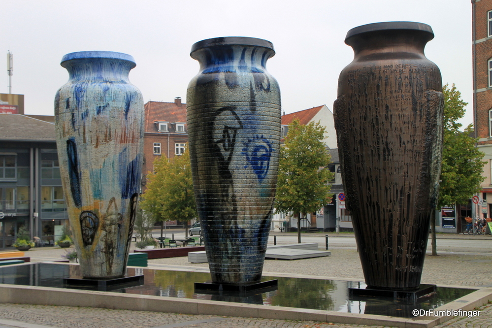 Roskilde jars, installed for the city's Millennium, popular with street artists