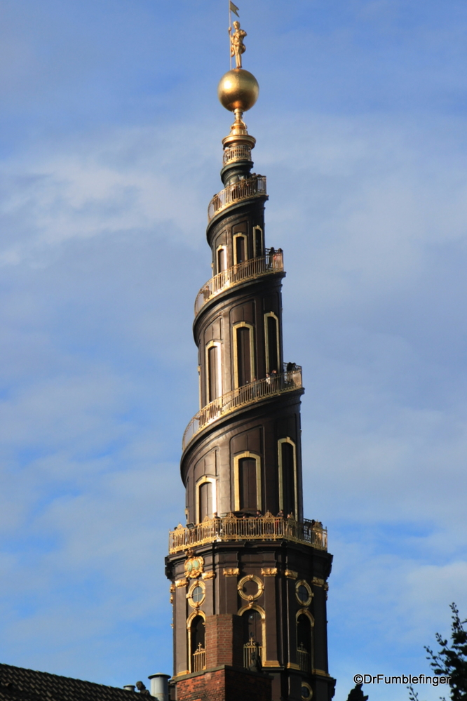 Lovely and unusual corkscrew spire of the Church of our Savior, Copenhagen