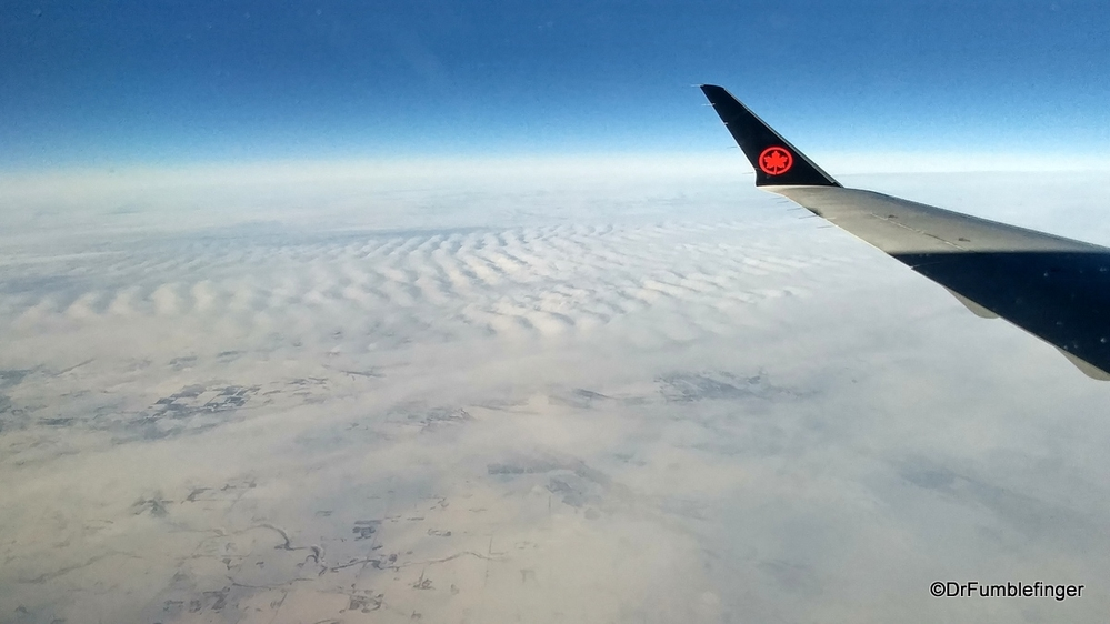Flying over the frozen Canadian prairies