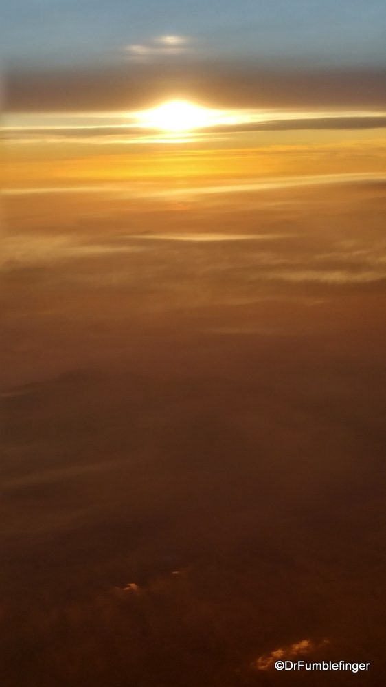 Flight to Costa Rica -- Sunset over Central America