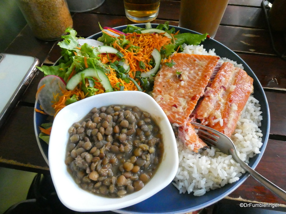 Nice dinner of salad, smoked trout, rice and lentils, Costa Rica