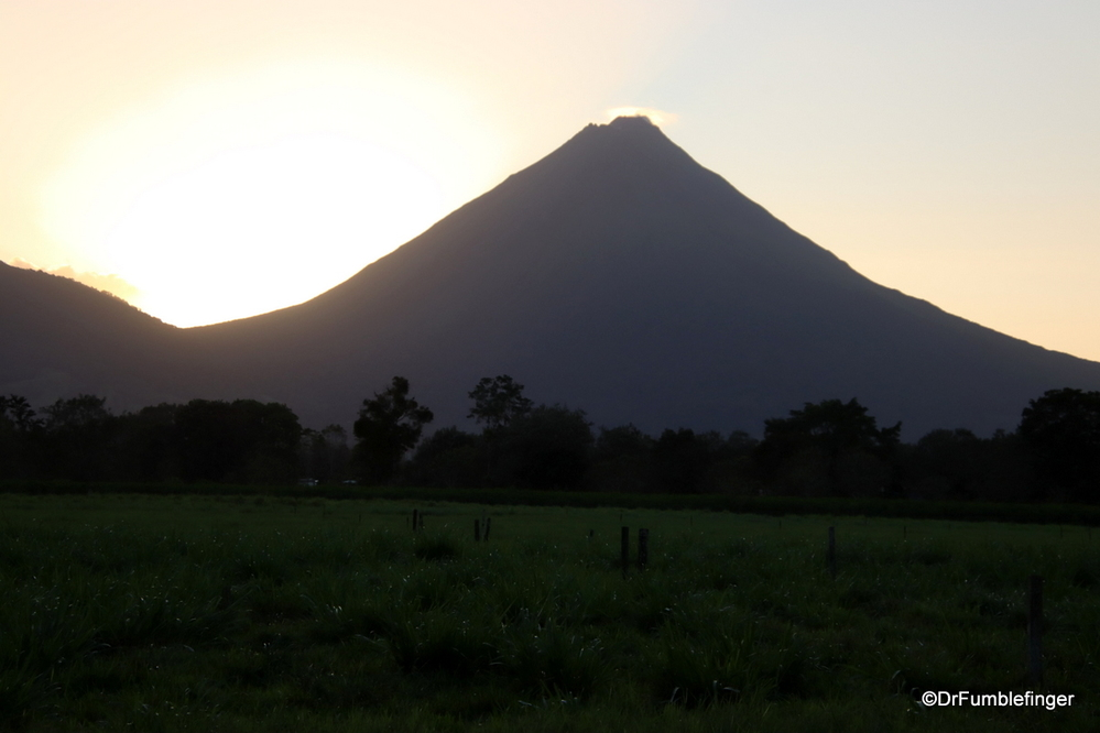 Arenal volcano silhouetted at dusk, Costa Rica