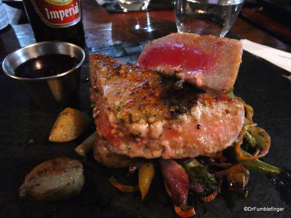 Excellent dinner of seared tuna steak, Monteverde, Costa Rica
