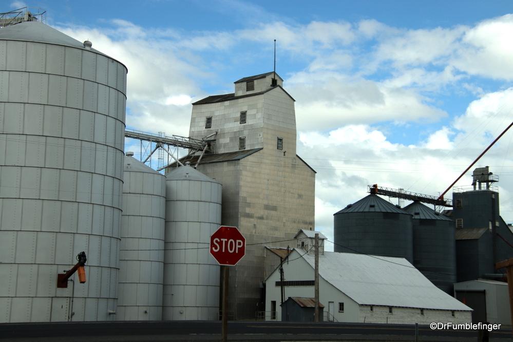 Hybrid of an older grain elevator with new grain storage facilities, eastern Washington