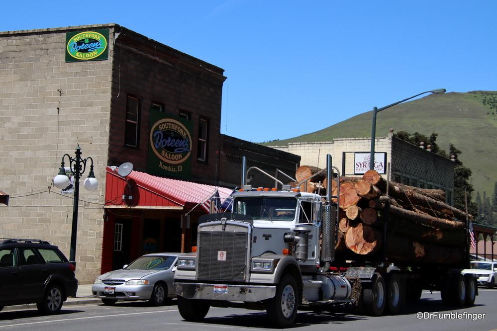 Large logging trucks are a common site in Idaho, Kooskia