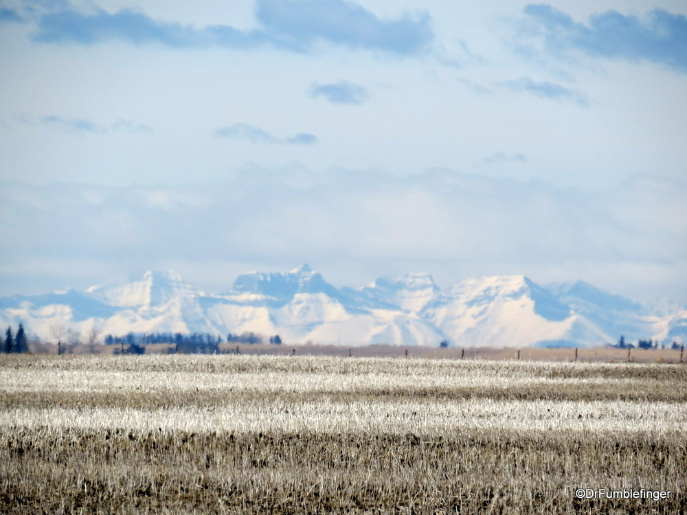 Views of Rocky Mountains over the prairie, Alberta