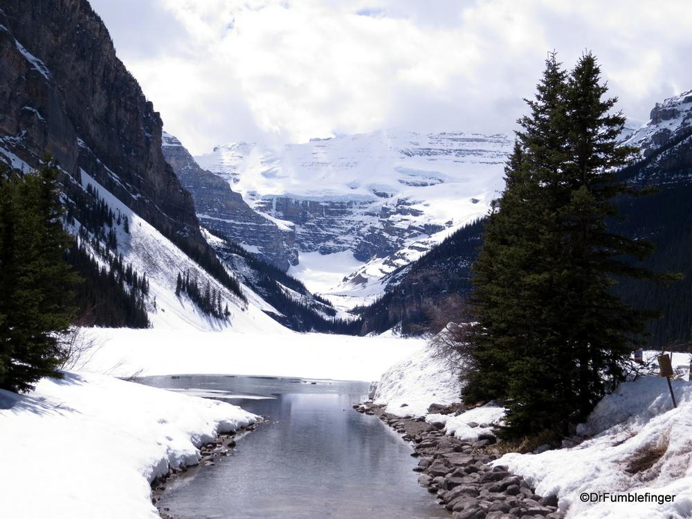 Winter persists in May at Lake Louise.  Banff National Park